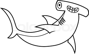 hammerhead shark clipart black and white. Interesting Hammerhead Cartoon Hammerhead Shark Vector Illustration On A White Background  Stock  Vector Colourbox Throughout Shark Clipart Black And White