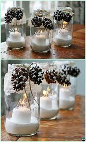 diy snowy pinecone candle mason jar lights instruction diy mason jar lighting craft ideas