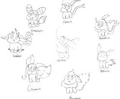 Pokemon Eevee Evolutions Coloring Pages Print Eeveelution Acnee