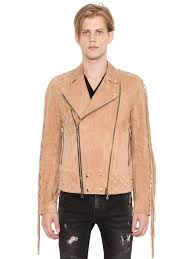 balmain fringed suede leather biker jacket beige men clothing balmain shirt