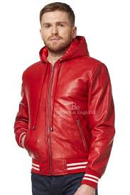 details about baseball sports men s real leather hooded jacket slim fitted stylish red 4486