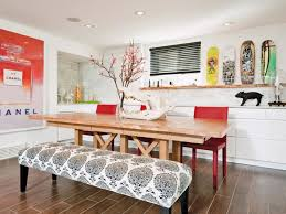 dining room table with upholstered bench. Eclectic Dining Room With A Printed Upholstered Bench Table T
