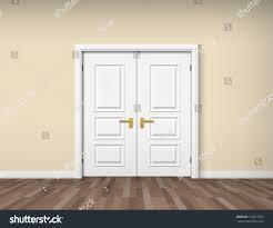 white double door. Empty Room Interior With White Double Door
