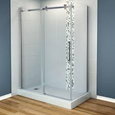 maax halo 34 in x 60 in x 79 in frameless corner sliding shower with regard