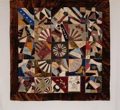 18th & 19th Century Quilts & Q8807 Silk & Silk Velvet Victorian Crazy Quilt with Dresden Plate Center  Medallion Adamdwight.com