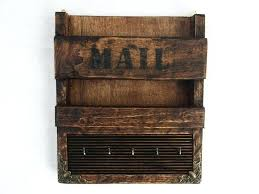 hanging letter organizer rustic wooden wall hanging mail holder and key rack letter organizer hooks