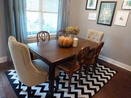 dining room alluring patterned square rug for with black and white line rugs rectangular table chairs