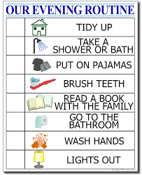 Kids Routine Chart Kids Evening Routine Free Printable Checklist