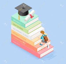 Книги шаг образования хронологии Мальчик студент шел вверх по  Мальчик студент шел вверх по лестнице на выпускной шляпу и диплом