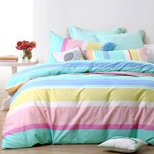 pastel turquoise purple pink white yellow and blue neon rainbow stripe print bright colorful ombre twin full queen size bedding sets