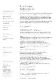 Facilities Manager Resume Template Format For Hotel Management Jobs