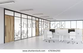 glass walls office. Conference Room With Glass Walls And Office Cubicles Computers On White Tables. Concept