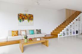 modern minimalist furniture design and creative integration of stairs and storage for living room decor