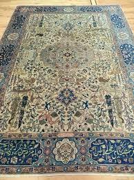 oriental area rugs rare signed rug blue beige animals birds lion 8x10 henderson b