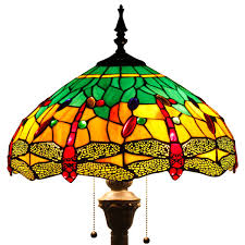 Discount Tiffany Style Lighting Tiffany Style Floor Standing Lamp 64 Inch Tall Green Yellow Stained Glass Shade Crystal Bead Dragonfly 2 Light Pull Chain Antique Zinc Base For Living