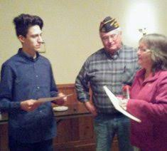 gowanda vfw s its voice of democracy contest winner news  submitted photo gowanda post 5007 commander tom howard and vfw auxiliary president laurie brewster present