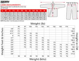 Fuji Gi Size Chart Tatami Size Charts Tatami Fightgear Tatami Gi Size Chart