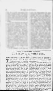 essay on essay on theatre or a comparison between laughing and sentimental