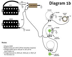 diagram 1b shows my adaptation for three knob humbucker guitars using the extant 500k pots