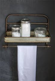 Farmhouse Metal Shelf and Towel Rack, Vintage Style Metal Towel Rack