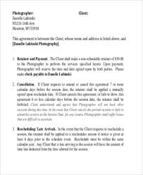 Photography Agreement Form Template Photography Sample Contracts 9