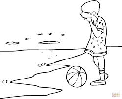 Verdrietig Meisje Op Het Strand Kleurplaat Gratis Kleurplaten Printen