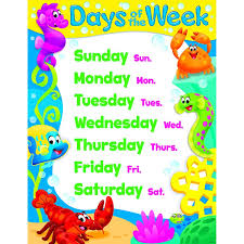 Days Of The Week Chart Days Of The Week Sea Buddies Learning Chart