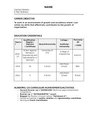 12 Standard Resume Format 2015 Business Letter
