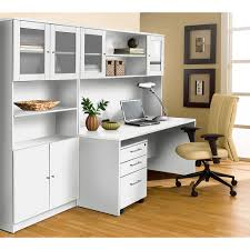 Image Oval Office Furniture Jesper 100 Collection White Executive Office Desk With Hutch Bookcase