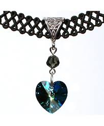 twilight s fancy 14mm swarovski crystal heart pendant choker necklace bermuda blue ct11tlhwpn5
