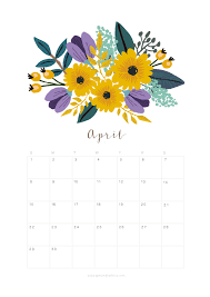 Printable April 2018 Calendar Monthly Planner Flower Design A
