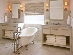 neutral double vanity bathroom with white claw foot tub