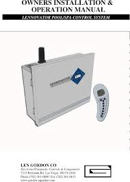 lennovator remote pool spa control system user manual 11 14 00 pdf Hot Tub Plumbing Diagram page 1 of lennovator remote pool spa control system user manual 11 14