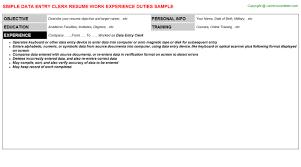 Data Entry Clerk Resume Resumes Templates