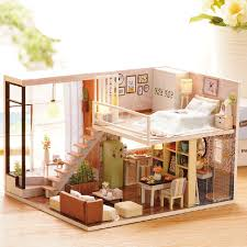 miniature wooden dollhouse furniture. Incredible Design Wood Dollhouse Furniture DIY Doll House Wooden Houses Miniature Kit Toys For Children Christmas L