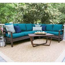 Image Resort Augusta 5piece Wicker Outdoor Sectional Set With Peacock Cushions The Home Depot Mediterranean Outdoor Sectionals Outdoor Lounge Furniture The