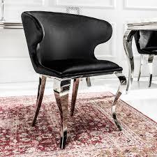 Eleganter Stuhl Modern Barock Ii Schwarzer Samt Edelstahl Esszimmerstuhl