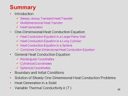 summary introduction one dimensional heat conduction equation