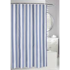 blue and white fabric shower curtain