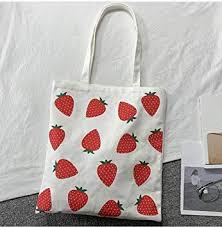 zhangfuhe Strawberry Print Canvas Bag <b>Korean Style</b> College ...