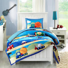 construction truck boy bedding twin full queen blue wonderful ideas toddler bed sets boy