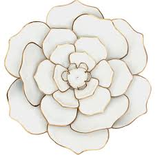 16in white gold metal flower wall
