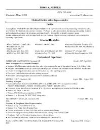 Sales Representative Skills Resume Sample Sales Medical Device Resume Sample For Distributor Business Plan 20