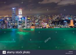 infinity pool singapore night. Downtown Central Financial District At Night Viewed From The Infinity Pool Of Marina Bay Sands Singapore N