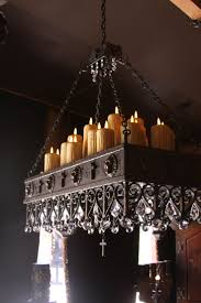 real candle chandelier lighting large rustic chandeliers round pillar country italian log cabin tuscan hand forged
