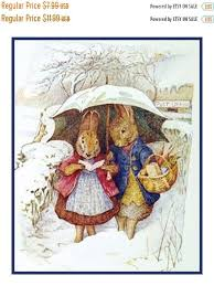 May Sale Digital Chart Mr And Mrs Rabbit Have A Snow Day By Beatrix Potter Counted Cross Stitch Chart Pattern Free Shipping