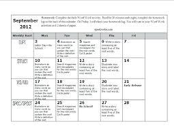 Free Printable School Calendar Template Elementary School Calendar Template Homework Chart Free