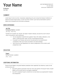 Template Of A Resume Free Resume Templates Printable