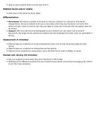 Mock Doctors Note Doctors Office Practicing Vocabulary Lesson Plan