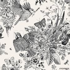Seamless Floral Pattern Tits Flowers Butterflies Vector Vintage
